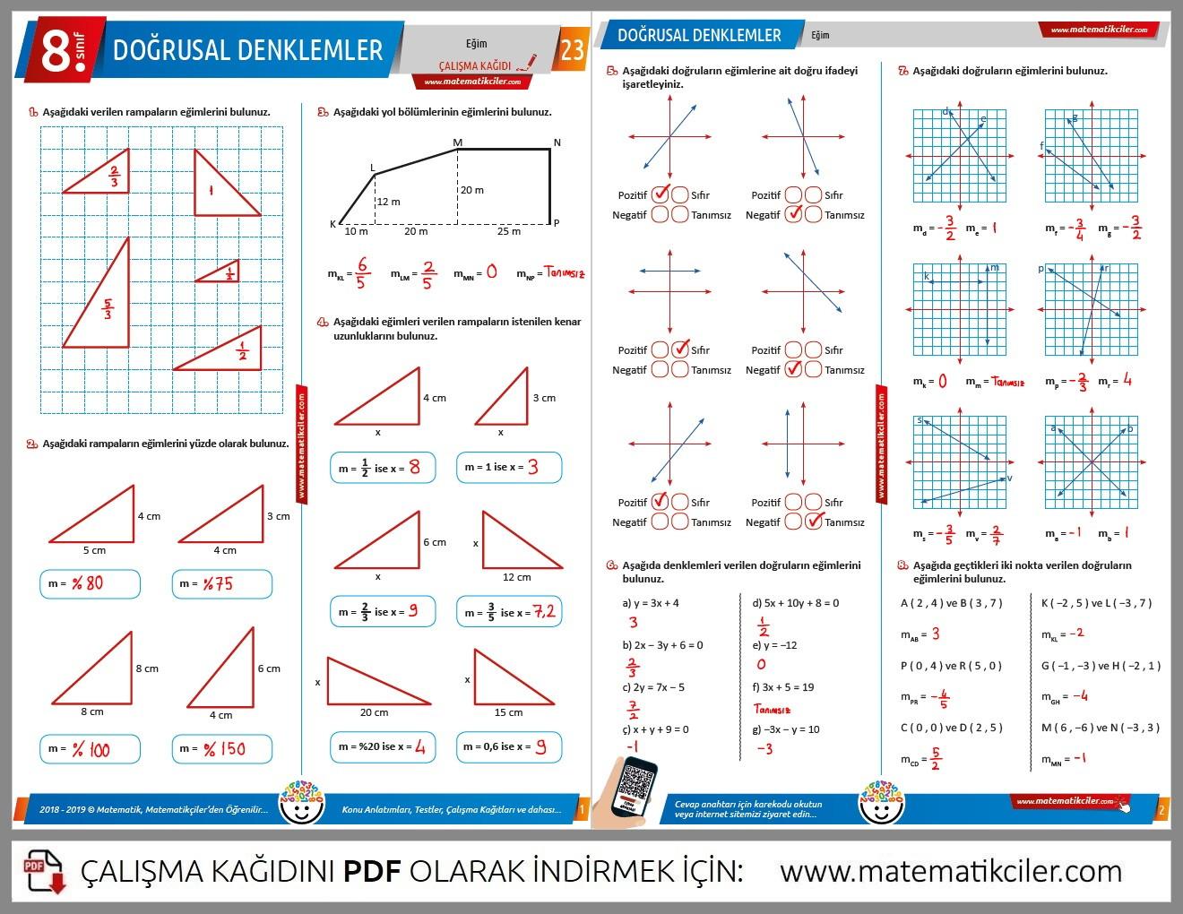 8 Sinif Pdf Matematik Calisma Kagitlarinin Cevaplari
