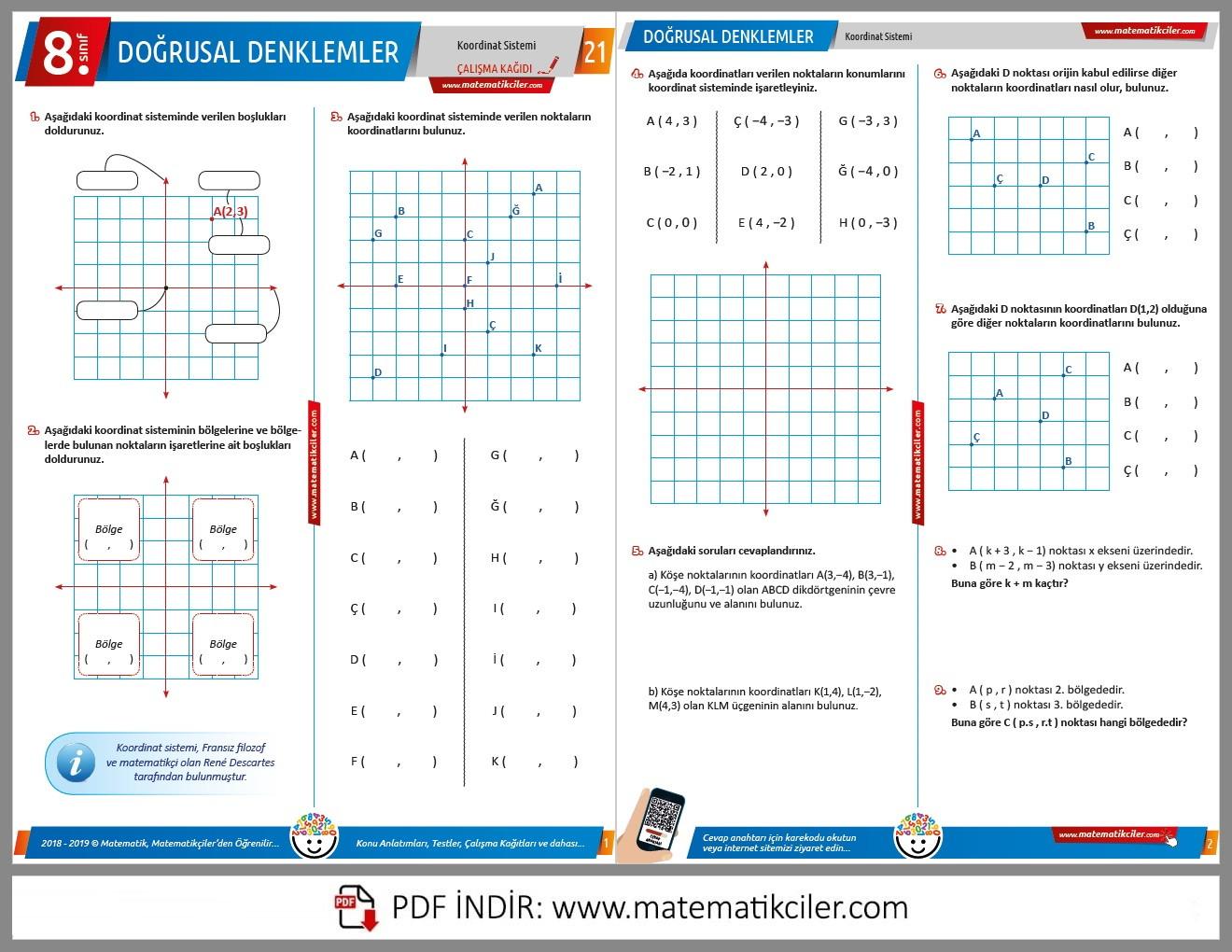 8. Sınıf Koordinat Sistemi Çalışma Kağıdı