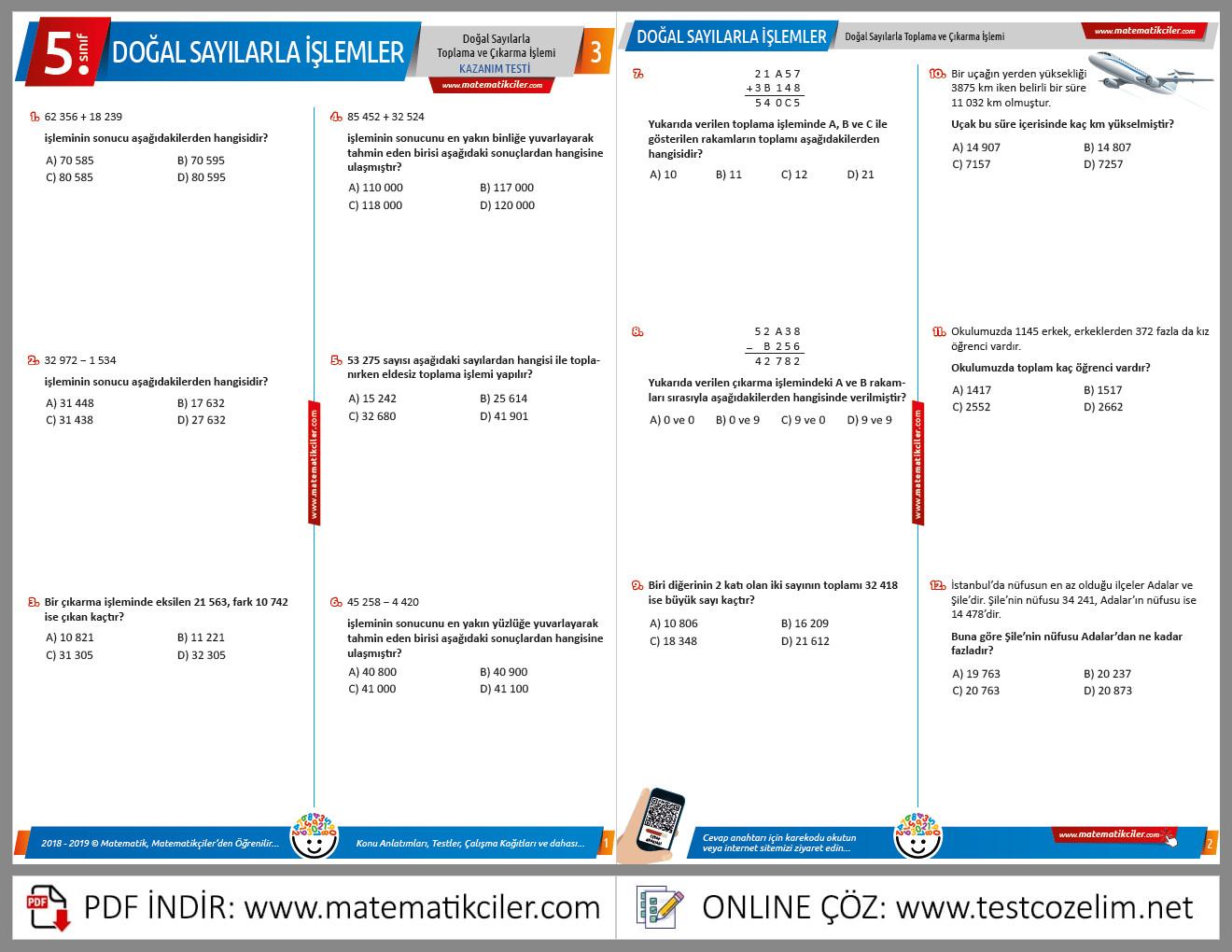5. Sınıf Doğal Sayılarla Toplama ve Çıkarma İşlemi Testi