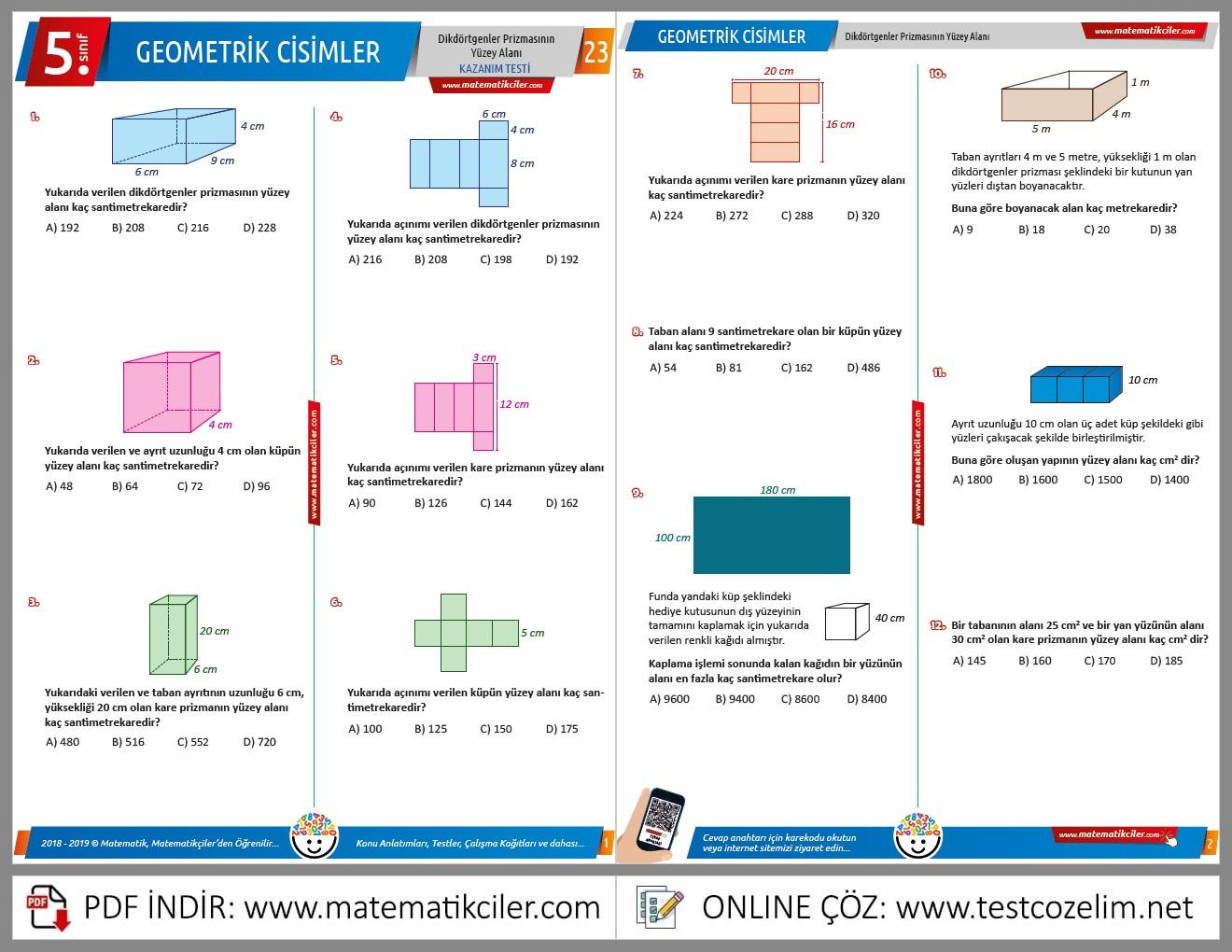 5. Sınıf Geometrik Cisimler Testi