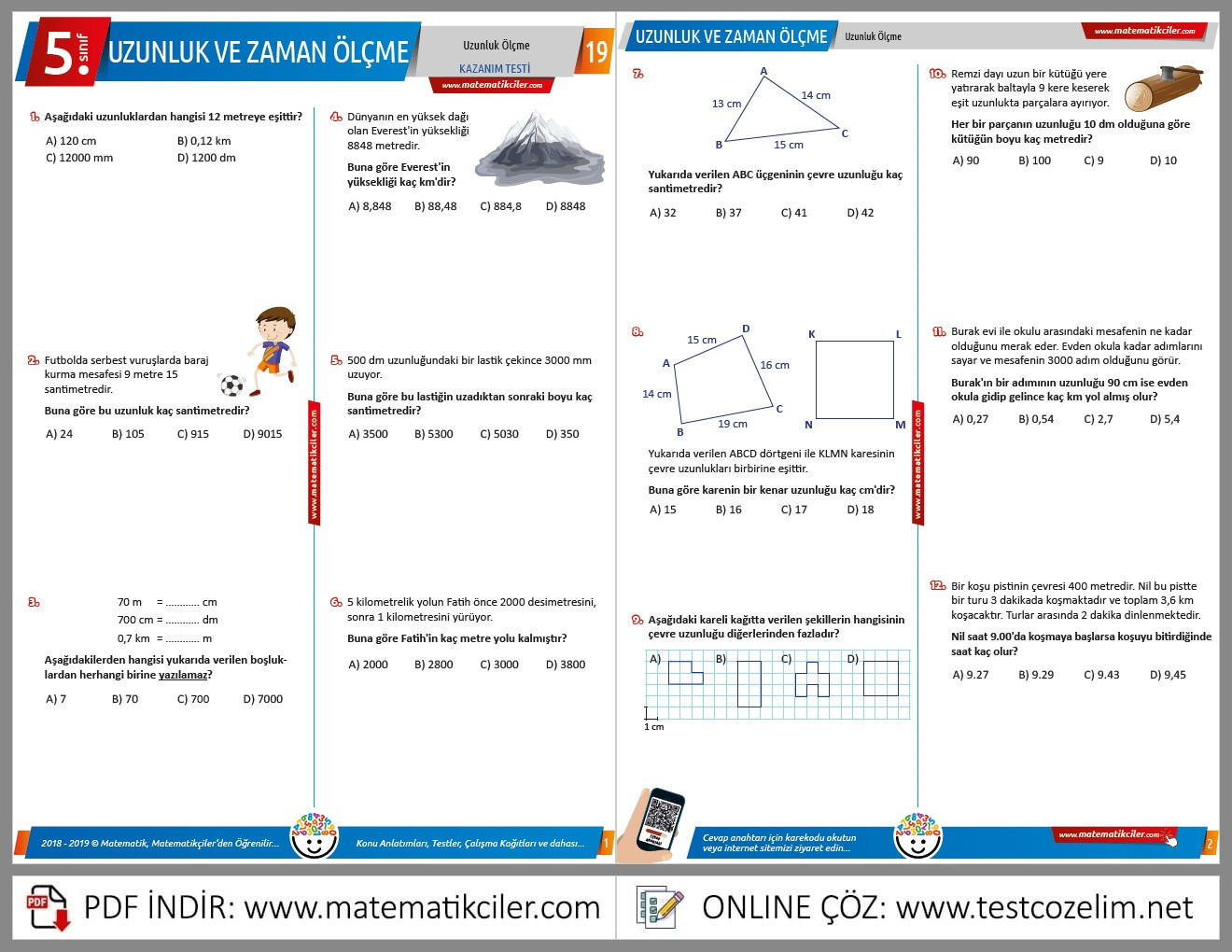 5. Sınıf Veri Analizi Testi