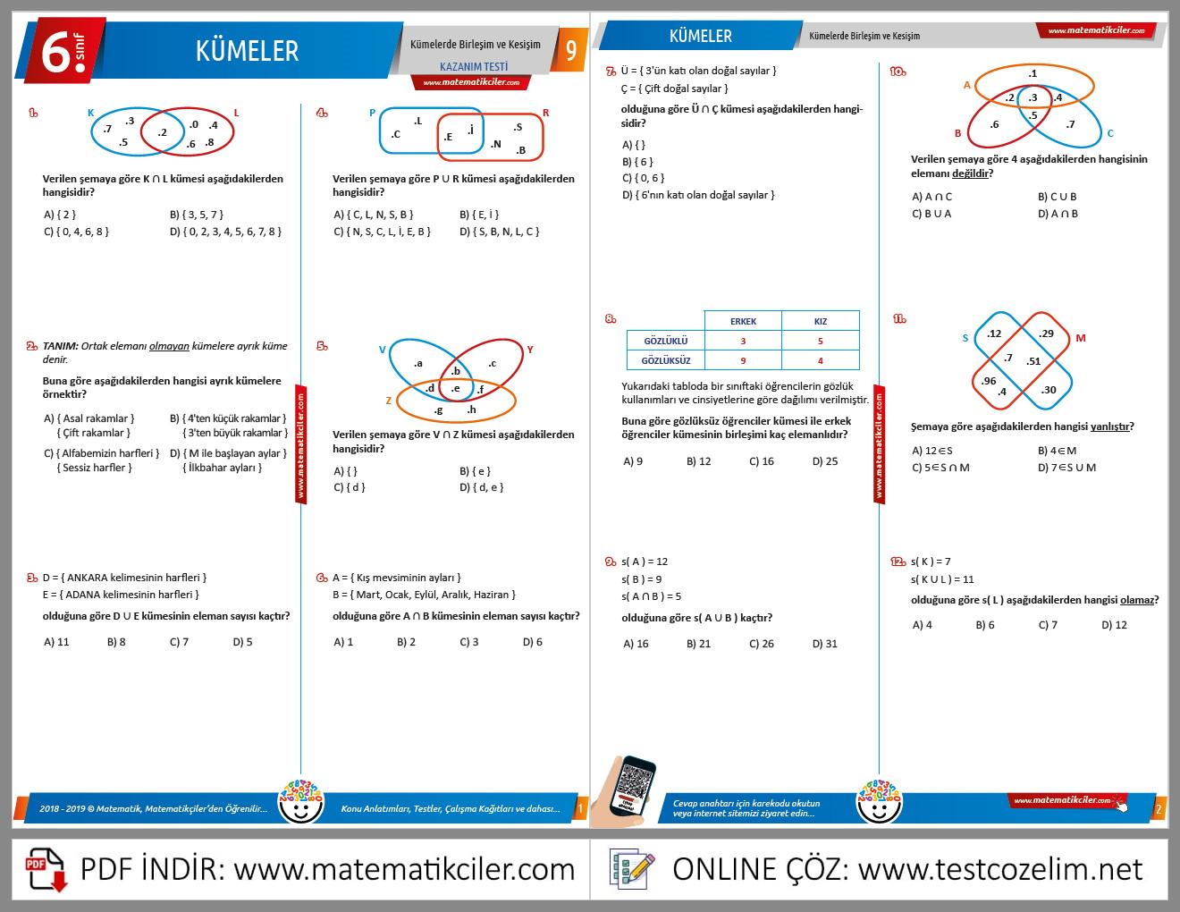 6. Sınıf Kümelerde Kesişim ve Birleşim Testi
