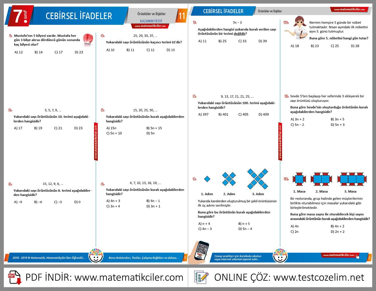 7 Sinif Oruntuler Testi Pdf Indir Matematikciler Com