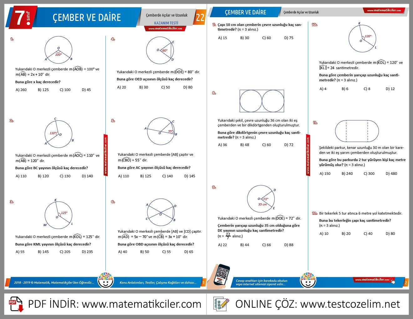 7. Sınıf Çember Testi