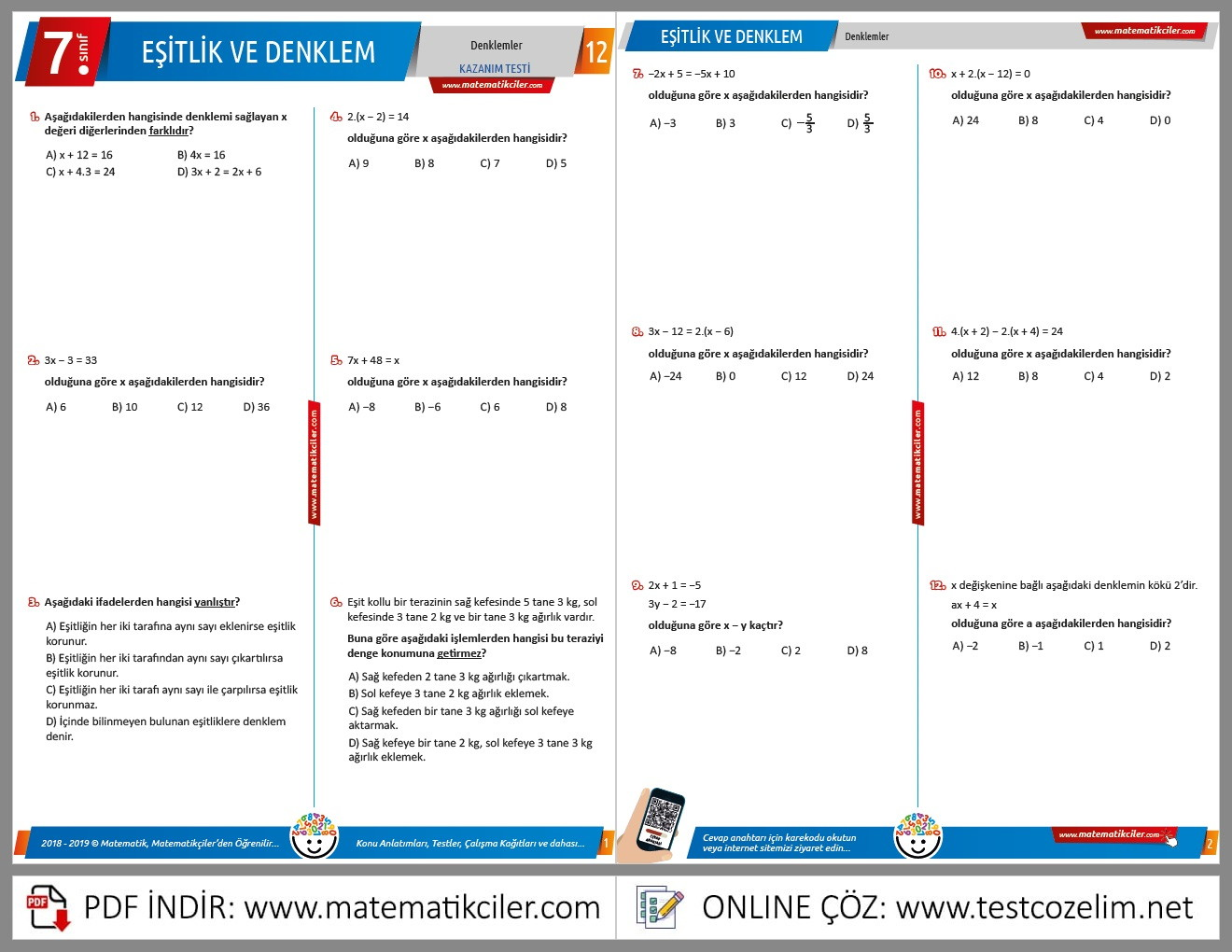 7. Sınıf Denklemler Testi
