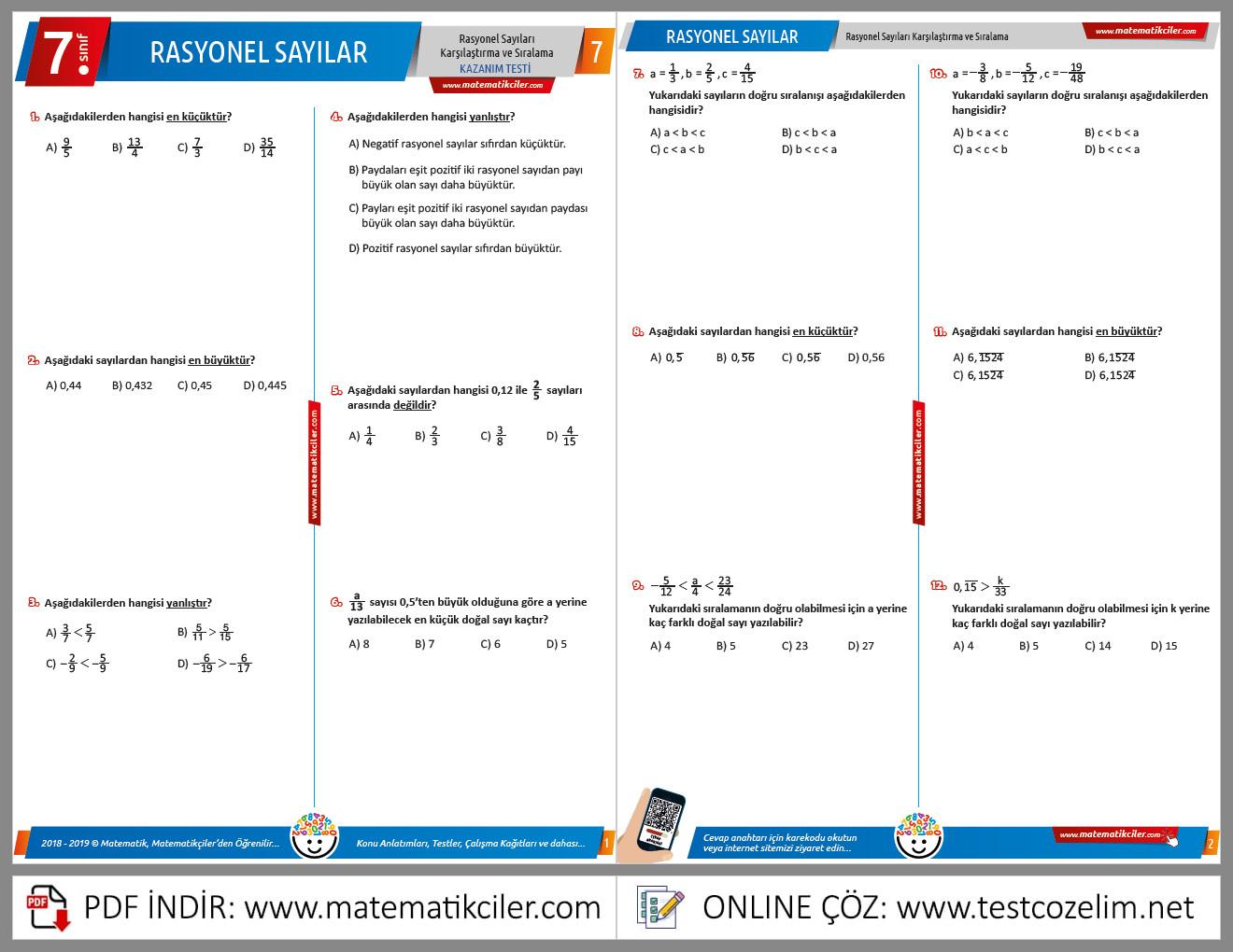 7. Sınıf Rasyonel Sayıları Karşılaştırma ve Sıralama Testi