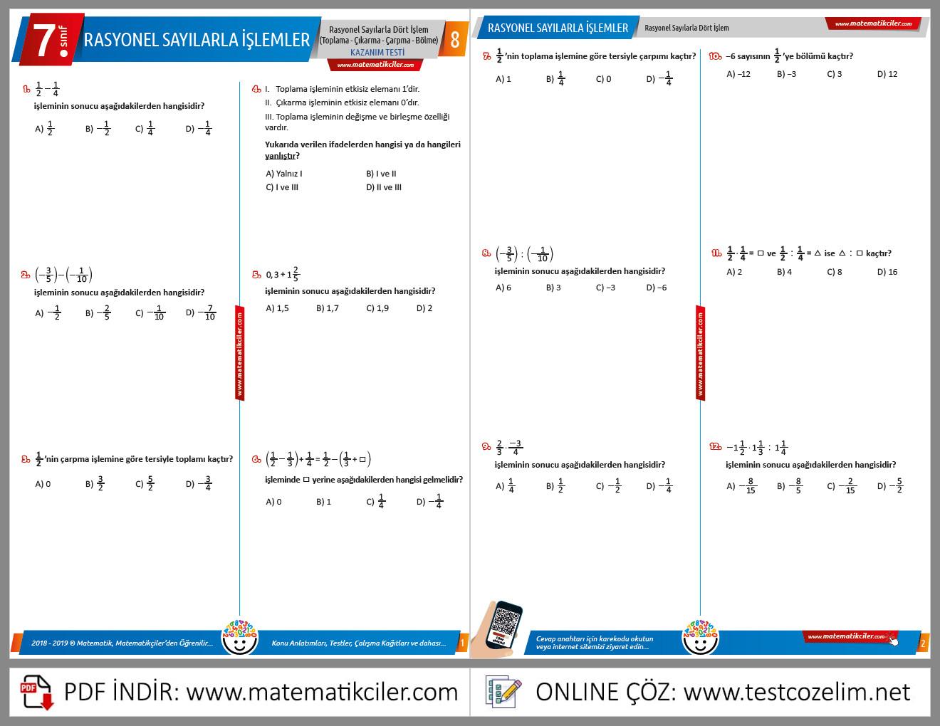 7 sınıf matematik rasyonel sayılar konu anlatımı video indir