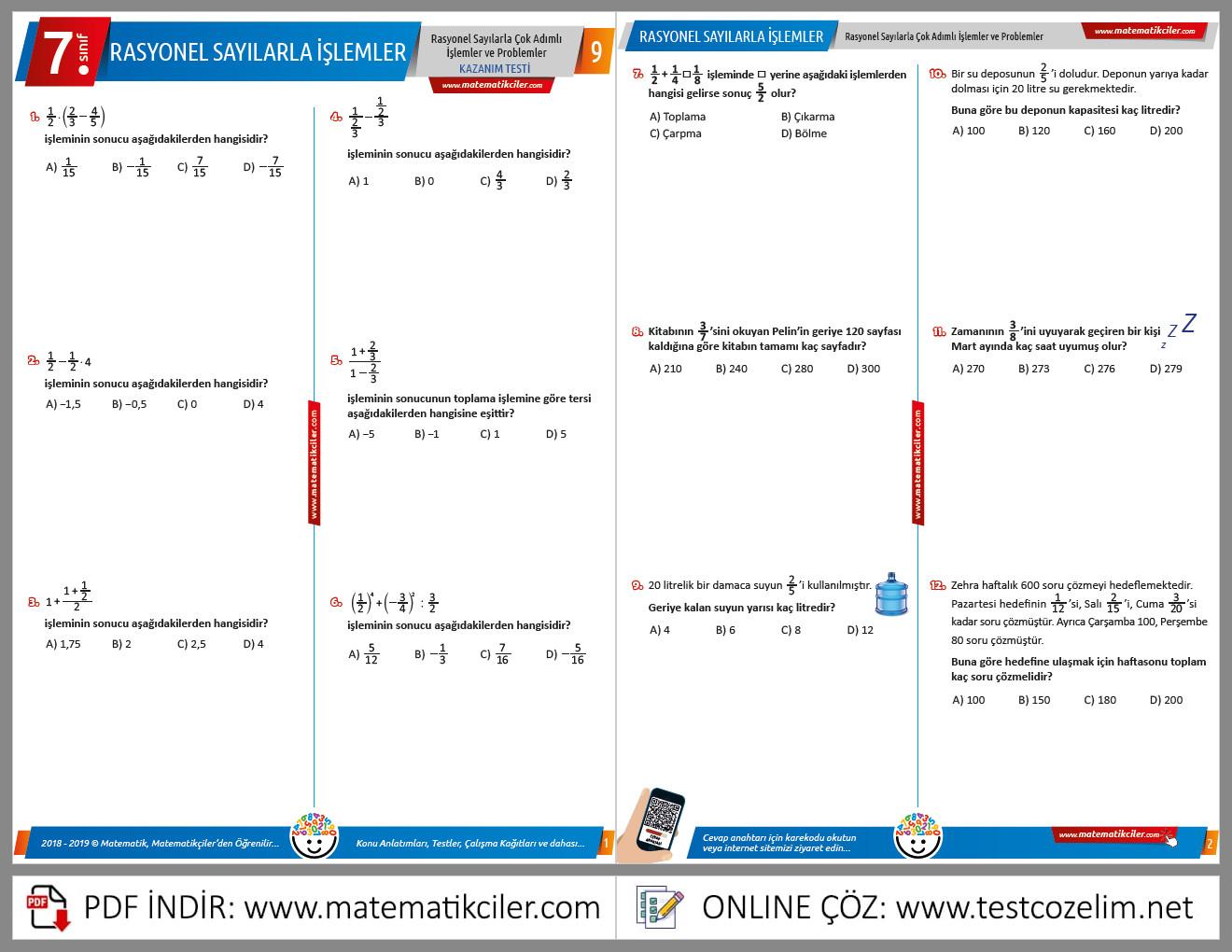 7. Sınıf Rasyonel Sayılarla Çok Adımlı İşlemler ve Problemler Testi