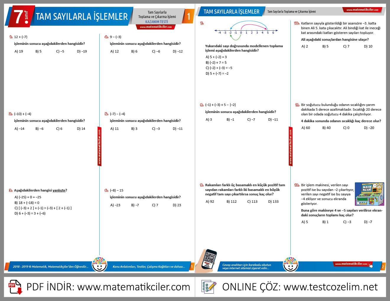 7. Sınıf Tam Sayılarla Toplama ve Çıkarma İşlemi Testi
