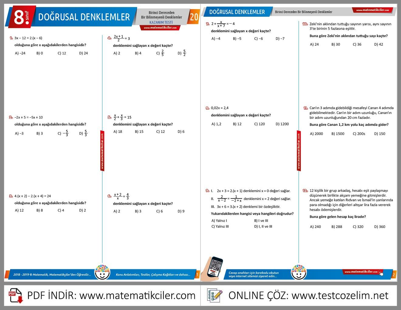8. Sınıf Doğrusal Denklemler Testi