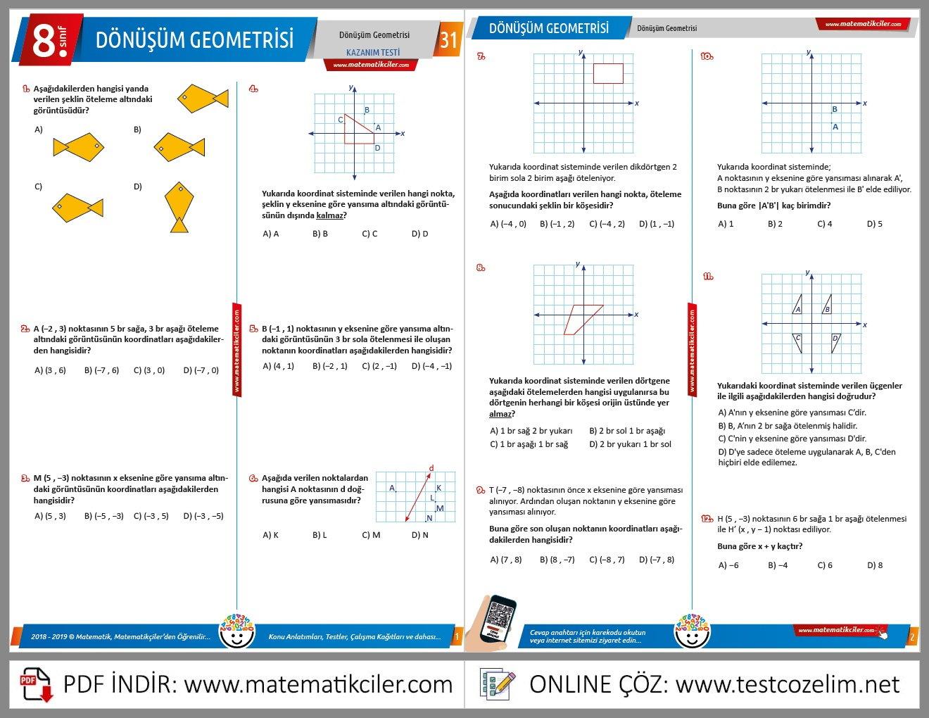 8. Sınıf Dönüşüm Geometrisi Testi