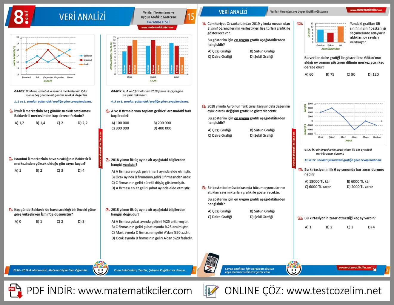 8 Sınıf Veri Analizi Testi Pdf Indir Matematikcilercom